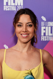 Aubrey Plaza opted for a casual center-parted ponytail when she attended the BFI London Film Festival screening of 'Ingrid Goes West.'