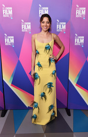 Aubrey Plaza was a glamorous drop of sunshine in a yellow Prada gown with blue and black feather embellishments at the BFI London Film Festival screening of 'Ingrid Goes West.'