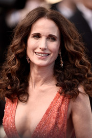 Andie MacDowell attended the 'Inside Out' premiere in Cannes wearing her hair in voluminous curls.