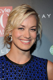 Yvonne Strahovski attended the InStyle 20th anniversary party wearing her hair in a messy updo.