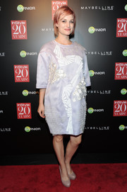 Alison Sudol opted for an embellished lavender T-shirt dress when she attended the InStyle 20th anniversary party.