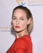 Leelee Sobieski wore a wet-look, slicked-back bob when she attended the International Centre for Missing and Exploited Children's Inaugural Gala.