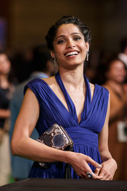 Freida Pinto paired a stylish snakeskin clutch with a blue Grecian gown for the International Indian Film Academy Awards.