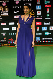 Freida Pinto looked divine in a sleeveless blue empire gown during the International Indian Film Academy Awards.