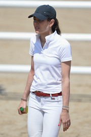 Charlotte Casiraghi kept the sun out with a black Nike baseball cap at the International Monte-Carlo Jumping.