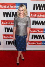 Chelsea Handler paired her tee with a cute floral sequin skirt.