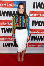Sophia Bush balanced out her colorful top with a plain white pencil skirt.