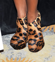 Kelly Rowland showed off the leopard print trend that's sweeping the runways and the red carpet. Her Sculpted Leopard Wedge Booties were the perfect way to add some sass to her look.