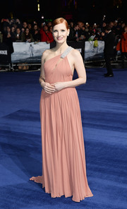 Jessica Chastain looked heavenly in a pink Saint Laurent one-shoulder gown during the 'Interstellar' London premiere.