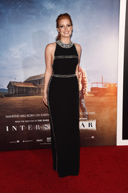 Jessica Chastain looked flawless in a crystal-embellished black column dress by Prada during the New York premiere of 'Interstellar.'