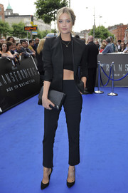 Classic black pumps completed Laura Whitmore's outfit for the 'Transformers 4: Age of Extinction' preview in Ireland.