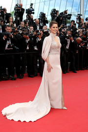 Cheryl Fernandez-Versini glided down the 'Irrational Man' red carpet in a Ralph & Russo Couture gown boasting a regal-looking cape and a long train.