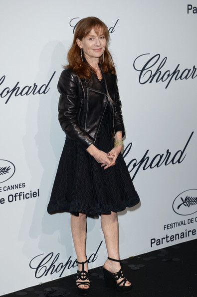 Isabelle Huppert Leather Jacket [clothing,little black dress,dress,fashion,footwear,cocktail dress,shoe,fur,leather,style,isabelle huppert,cannes,france,soiree chopard,mystery party,cannes film festival]