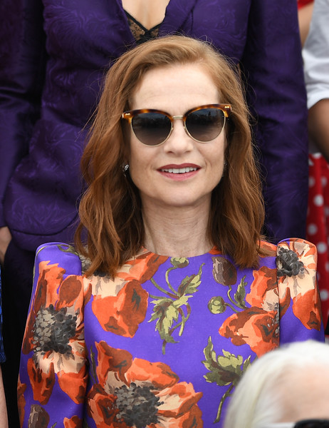 Isabelle Huppert Medium Wavy Cut [eyewear,hair,face,sunglasses,glasses,hairstyle,beauty,cool,fashion,purple,cannes,france,cannes film festival,anniversary photocall,palais des festivals,isabelle huppert]