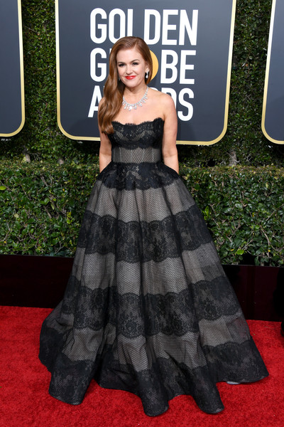 Isla Fisher Strapless Dress [clothing,dress,red carpet,carpet,premiere,strapless dress,flooring,fashion,gown,fashion model,arrivals,isla fisher,the beverly hilton hotel,beverly hills,california,golden globe awards]