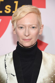Tilda Swinton sported a wavy boy cut at the New York screening of 'Isle of Dogs.'