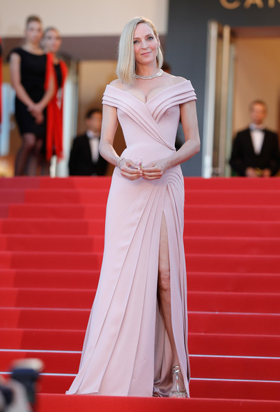 Uma Thurman looked flawless in a structured pale-pink off-the-shoulder gown by Atelier Versace at the Cannes Film Festival opening gala.