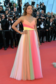 Naomie Harris was a sight to behold in her Gucci rainbow gown at the Cannes Film Festival opening gala.
