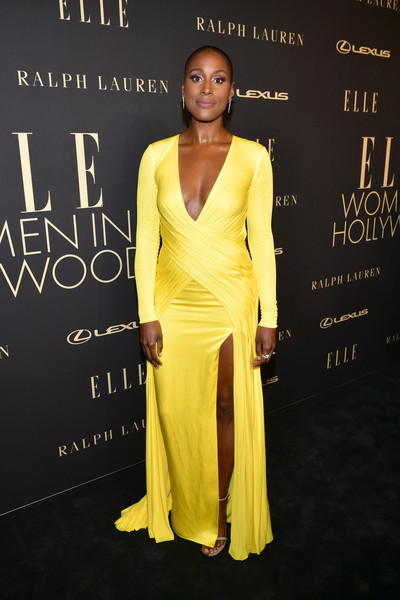 Issa Rae Evening Dress [yellow,dress,fashion,fashion model,hairstyle,formal wear,shoulder,premiere,gown,neck,lexus - arrivals,26th annual women in hollywood celebration,ralph lauren,issa rae,los angeles,beverly hills,california,the four seasons hotel,elle,lexus]