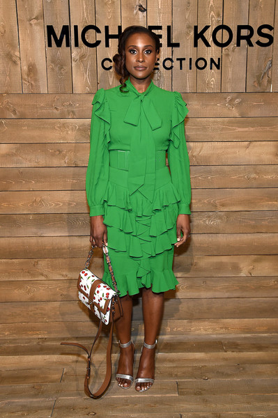 Issa Rae Midi Dress [fashion model,clothing,green,fashion,fashion show,runway,fashion design,dress,shoulder,spring,issa rae,front row,new york city,michael kors fw20 runway show,natti natasha,new york fashion week,new york,fashion week,fashion,fashion show,runway,celebrity,model]