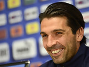 Gianluigi Buffon looked dapper with his slicked-back hairstyle during the Italy training session and press conference.