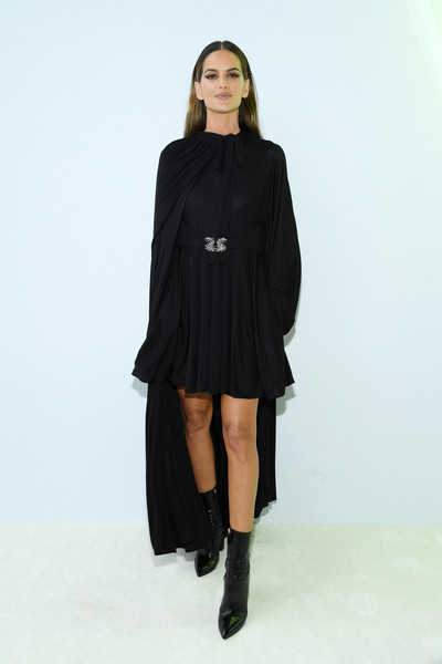 Izabel Goulart Mid-Calf Boots [clothing,black,shoulder,fashion model,fashion,outerwear,joint,sleeve,footwear,neck,valentino,izabel goulart,front row,part,summer 2020,paris,france,valentino womenswear spring,paris fashion week,show]