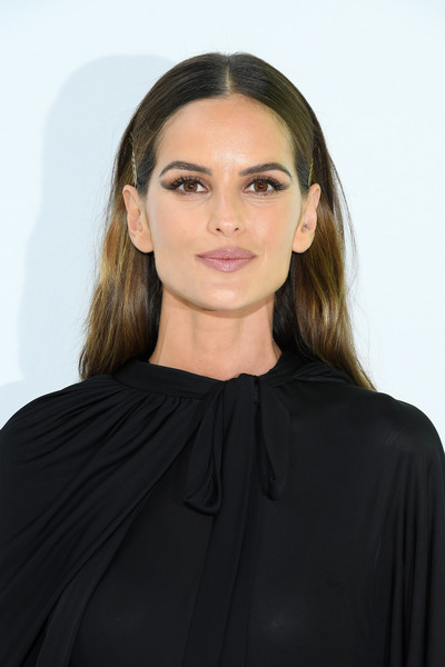 Izabel Goulart Long Center Part [hair,face,hairstyle,shoulder,eyebrow,beauty,lip,blond,neck,fashion,valentino,izabel goulart,front row,part,summer 2020,paris,france,valentino womenswear spring,paris fashion week,show]