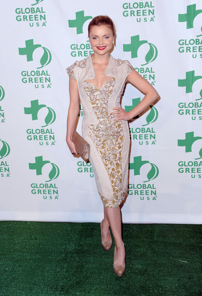 Izabella Miko Platform Pumps [clothing,green,dress,cocktail dress,red carpet,shoulder,carpet,hairstyle,joint,fashion,arrivals,izabella miko,california,hollywood,avalon,global green usa,9th annual pre-oscar party]