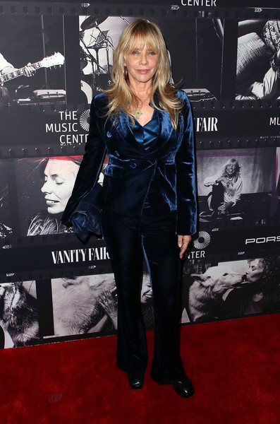 Rosanna Arquette suited up in blue velvet to attend JONI 75: A Birthday Celebration.