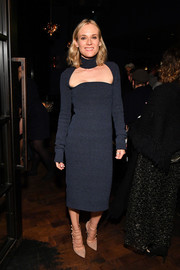 Diane Kruger cut a slim silhouette in a navy knit dress with choker detail at the New York screening of 'JT LeRoy.'