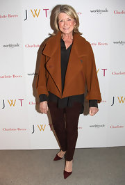 Martha added color with bordeaux stilettos.