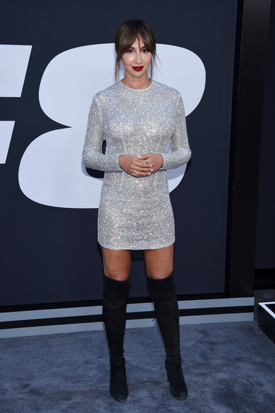 Jackie Cruz Over the Knee Boots [the fate of the furious,clothing,fashion,shoulder,dress,footwear,joint,beauty,knee-high boot,knee,fashion show,jackie cruz,new york city,radio city music hall,new york premiere]