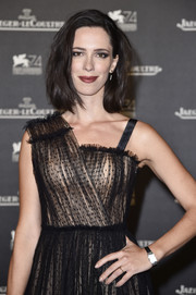 Rebecca Hall showed off an elegant rectangle-faced watch by Jaeger-LeCoultre during the brand's gala dinner at the Venice Film Festival.
