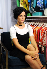 Jaimie Alexander layered a little black slip dress over a white T-shirt for her appearance on Amazon's 'Style Code Live.'