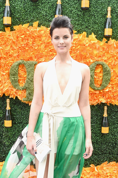 Jaimie Alexander Leather Clutch [orange,yellow,fashion,spring,dress,summer,photo shoot,peach,haute couture,arrivals,jaimie alexander,jersey city,new jersey,liberty state park,ninth,veuve clicquot polo classic]