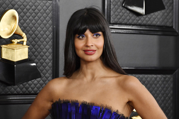 Jameela Jamil Long Straight Cut with Bangs [hair,beauty,hairstyle,black hair,dress,model,long hair,photography,photo shoot,brown hair,jameela jamil,staples center,los angeles,california,annual grammy awards,ariana grande,grammy awards,red carpet,staples center,celebrity,musician,music industry,2020,glamour,jameela jamil]