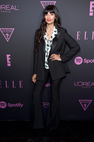 Jameela Jamil Pantsuit [clothing,fashion,pink,suit,formal wear,magenta,pantsuit,flooring,outerwear,long hair,spotify,jameela jamil,nina garcia,women in music,arrivals,host elle,new york city,e entertainment,elle]