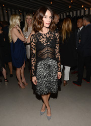 Abigail Spencer flashed plenty of skin in a sheer, mixed-pattern dress during the BAFTA Los Angeles Britannia Awards celebration.