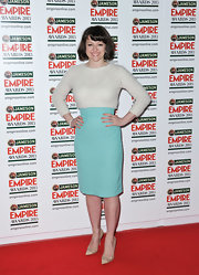 Jo Hartley chose this 'Tiffany Blue' pencil skirt for her feminine, retro-style red carpet look.