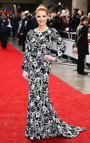 Jessica Chastain was a classic beauty in her black-and-white Oscar de la Renta floral gown at the Jameson Empire Awards.