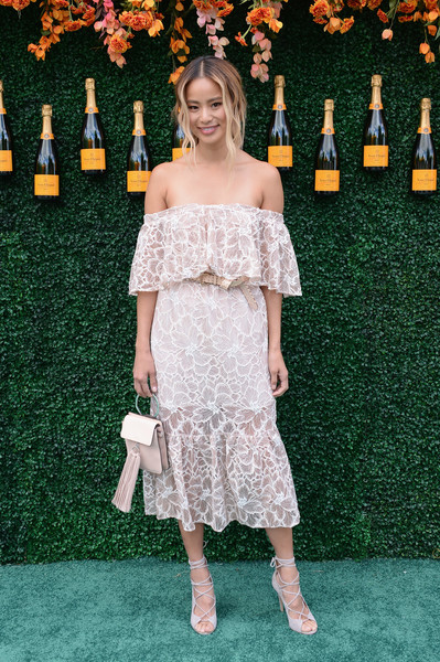 Jamie Chung Lace-Up Heels [dress,clothing,carpet,red carpet,shoulder,flooring,fashion,premiere,joint,footwear,arrivals,jamie chung,jersey city,new jersey,liberty state park,veuve clicquot polo classic]