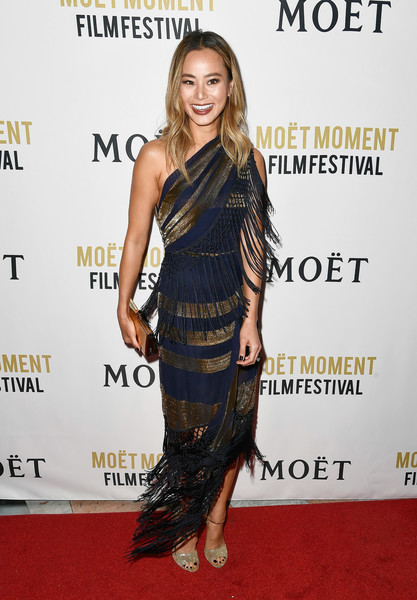 Jamie Chung Peep Toe Pumps [clothing,dress,shoulder,carpet,red carpet,cocktail dress,hairstyle,fashion model,joint,fashion,arrivals,jamie chung,poppy,moet chandon celebrates 3rd annual moet moment film festival,california,los angeles,moet and chandon celebrates 3rd annual moet moment film festival and kick off of golden globes week,kick off of golden globes week]