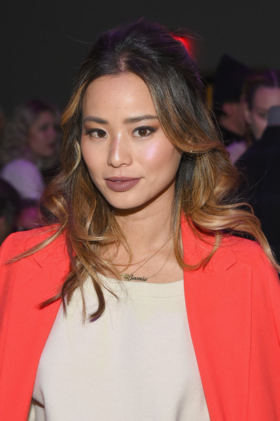 Jamie Chung Half Up Half Down [shows,the shows,hair,hairstyle,eyebrow,lip,blond,fashion,brown hair,beauty,fashion model,long hair,anna sui,jamie chung,front row,gallery i,new york city,spring studios,new york fashion week,fashion show]