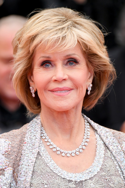 Jane Fonda Bob [hair,blond,human hair color,hairstyle,beauty,eyebrow,lady,chin,smile,layered hair,red carpet arrivals,jane fonda,blackkklansman,screening,cannes,france,cannes film festival,palais des festivals]