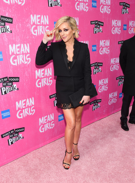Jane Krakowski Satin Clutch [mean girls,clothing,pink,carpet,premiere,dress,little black dress,red carpet,footwear,leg,flooring,jane krakowski,broadway,new york city,august wilson theatre,opening night]