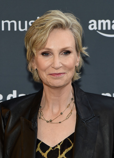 Jane Lynch Layered Razor Cut [hair,hairstyle,blond,eyebrow,chin,layered hair,long hair,feathered hair,hair coloring,smile,jane lynch,new york city,amazon,concert,amazon prime day concert]