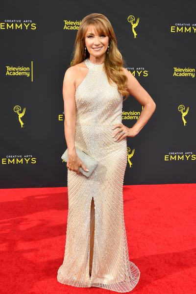 Jane Seymour Metallic Clutch [red carpet,carpet,clothing,dress,shoulder,fashion model,hairstyle,gown,premiere,flooring,arrivals,jane seymour,creative arts emmy awards,los angeles,california]