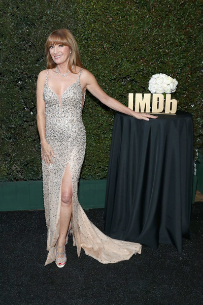 Jane Seymour Beaded Dress [dress,clothing,gown,red carpet,carpet,strapless dress,shoulder,lady,flooring,fashion,imdb,imdb live,california,los angeles,elton john aids foundation academy awards\u00e2\u00ae viewing party,jane seymour]