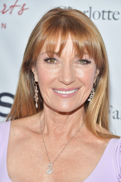 Jane Seymour Long Straight Cut with Bangs [hair,face,hairstyle,blond,eyebrow,chin,skin,bangs,layered hair,brown hair,arrivals,blond,jane seymour,hair,hairstyle,bangs,hair coloring,celebrity,the open hearts foundation,2019 open hearts gala,jane seymour,dr. quinn medicine woman,heterochromia,getty images,stock photography,hair coloring,bangs,blond,celebrity]