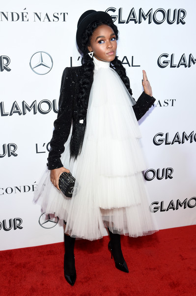 Janelle Monae Cocktail Dress [clothing,carpet,fashion,outerwear,dress,joint,fur,flooring,formal wear,red carpet,new york city,glamour women of the year awards: women rise,arrivals,janelle monae]